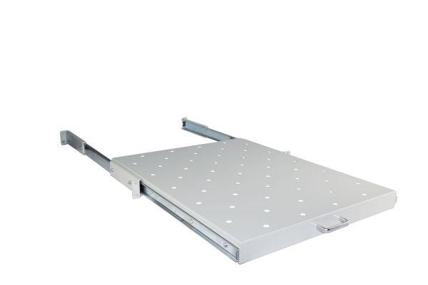 19 Zoll Geräteboden - 550 mm Tiefe – ausziehbar – hellgrau