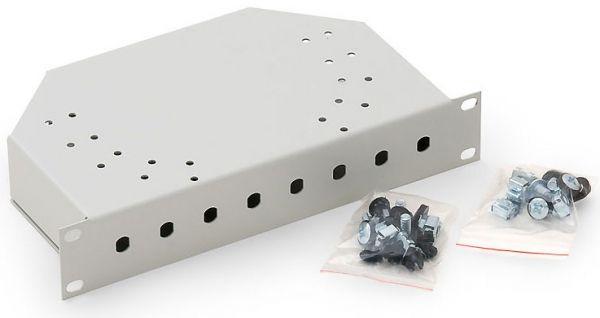 10'' LWL Spleißbox, unbestückt, 8-fach ST Frontblende, lichtgrau RAL 7035