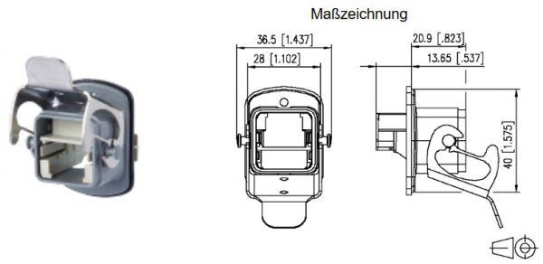 "BTR E-DAT Industry Flanschgehäuse ""V5"", IP67, System Steadytec Wasserdichtes Flansch für RJ45 Buchse"