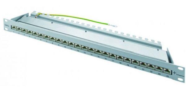 Telegärtner 19''- Patchfeld MPP24-HS K, Cat.6A ISO IEC, 24 Port, lichtgrau RAL 7035