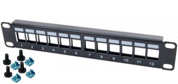 """10"""" Modulträger für 12 Keystone Anschlussbuchsen, 1 HE, schwarz"""
