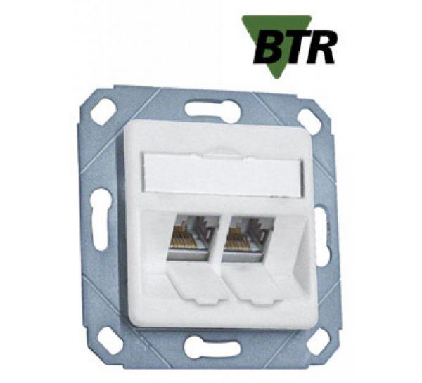 MetzConnect BTR Datendose E-DAT modul, Cat.6A, 2-fach, Kanaleinbau, reinweiß RAL 9010