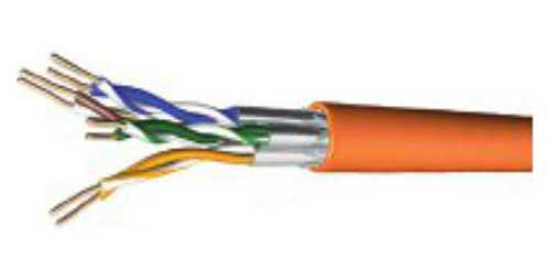 Tecline Verlegekabel, Cat.7, S/FTP, PiMF, orange, 250 m Box