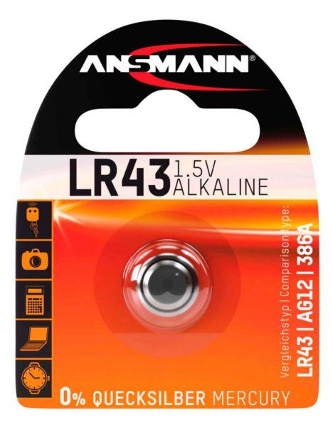 Ansmann Knopfzelle, LR43, 1,5 V Alkaline - Batterie