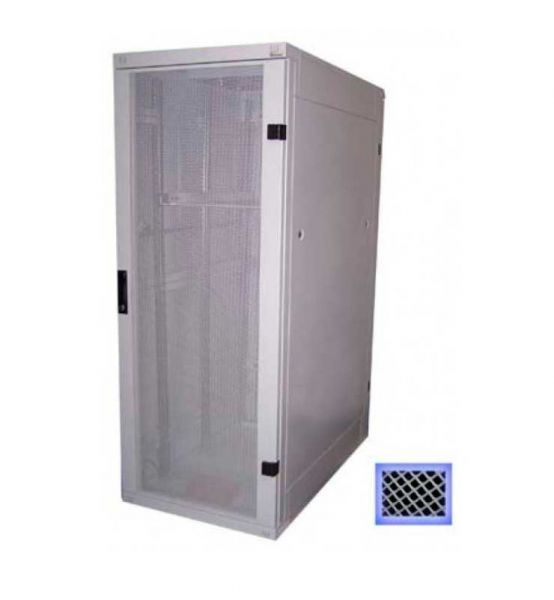 19 Zoll Serverschrank RZA 22 HE BxT 800 x 1000 mm perforierte Türen lichtgrau
