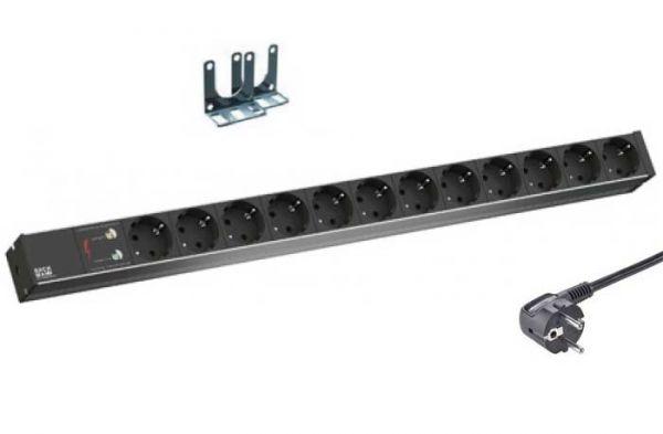 Steckdosenleiste 12x Schuko – Vertikaleinbau - Überspannungsschutz