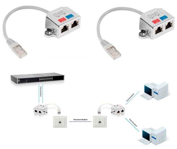 Netzwerk Splitter Adapter 2x Ethernet 2er Set