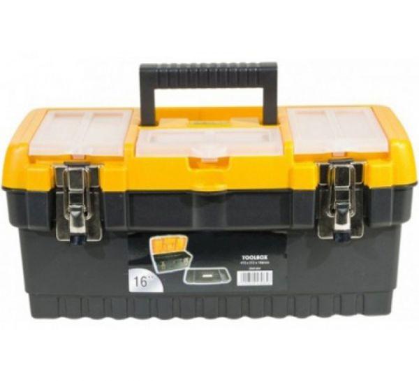 Werkzeugkoffer aus Kunststoff mit Metallschlössern, ca. 413 x 212 x 186 mm