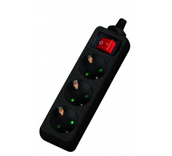 Steckdosenleiste 3-fach Schalter Anschluss 4 m schwarz