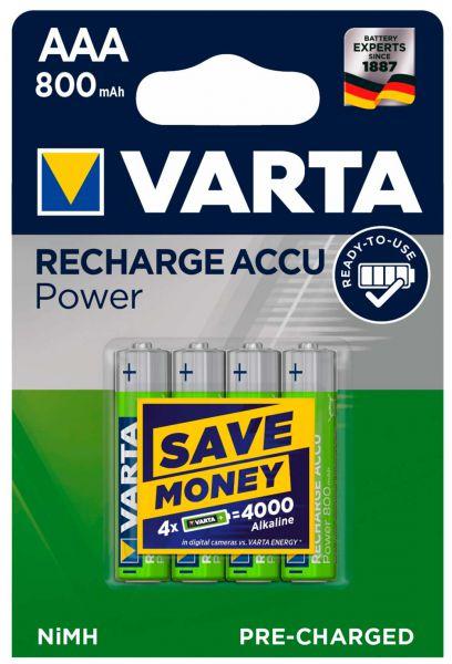 VARTA Akku NiMH, Micro, AAA, HR03, 1.2V/800mAh Accu Power