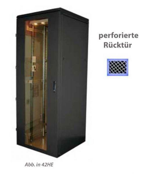 19 Zoll Serverschrank RZA 22 HE BxT 800 x 1000 mm perforierte Tür hinten schwarz