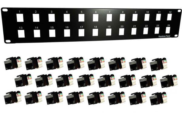"""Set: 19"""" Verteilerfeld inkl. 24x RJ45 Keystone Module Cat.5e"""
