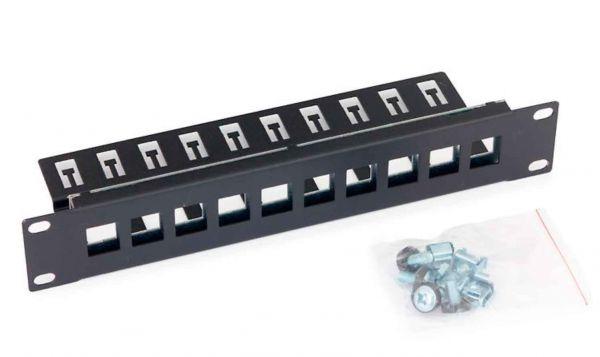 10 Zoll Keystone Patchpanel 10 Port schwarz RAL 9005
