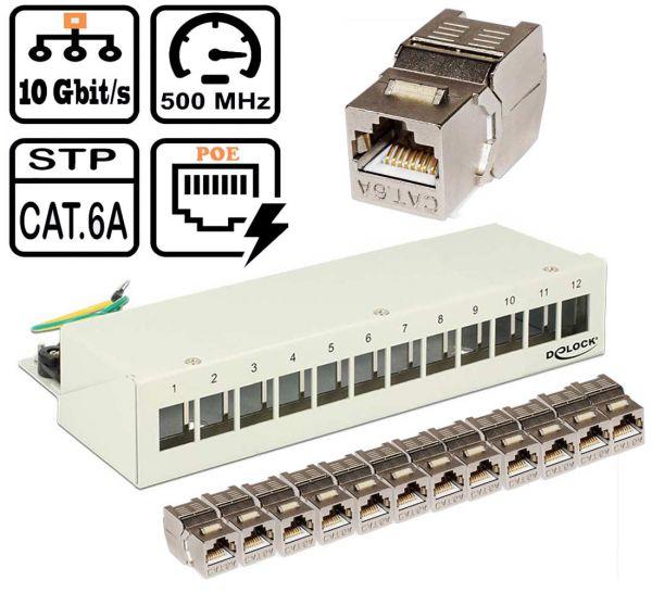12 Port Mini-Patchpanel CAT6A Keystone lichtgrau