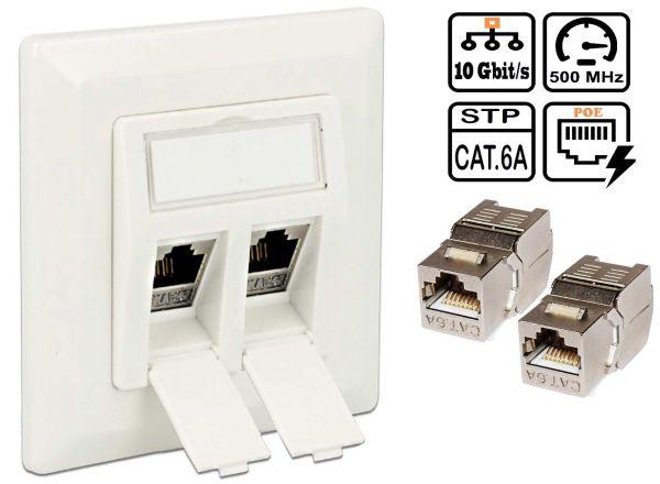 Netzwerkdose 2x Keystone Cat6A Modul