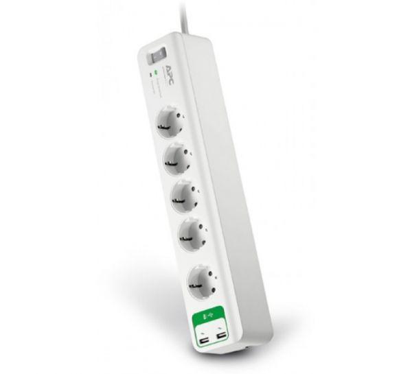 APC PM5U-GR - 5-fach Schutzkontakt Überspannungsschutz Steckdosenleiste USB Charger