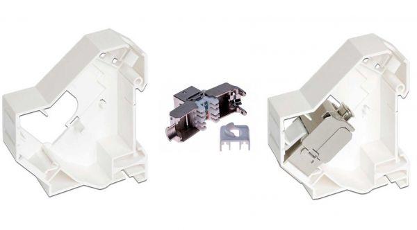 Keystone Halterung für Hutschienenmontage inkl. Keystone Cat 6A Modul