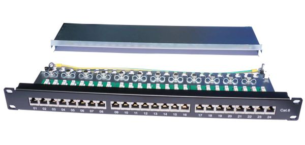 19'' - Patchfeld, Cat.6, 24 Port, schwarz RAL 9005