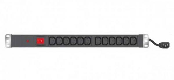 """19"""" Steckdosenleiste 12-fach IEC C13, mit Schalter und Sicherung"""