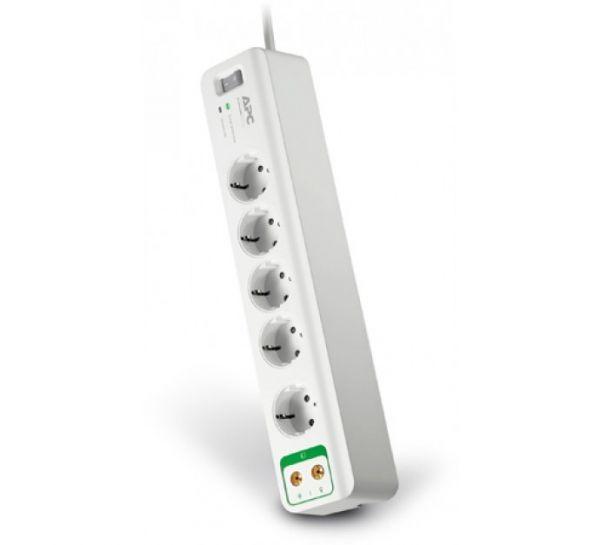 APC PM5V-GR - 5-fach Schutzkontakt mit Coax Überspannungsschutz Steckdosenleiste