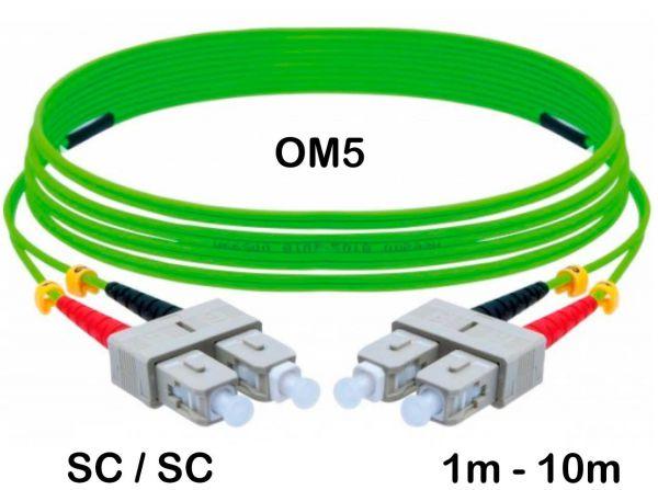 LWL Patchkabel HD 50/125 µm OM5 SC SC Stecker lindgrün 1m - 10m